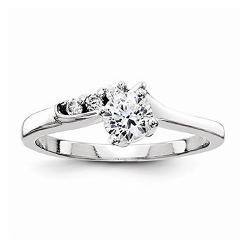 14k White Gold Aa Diamond Semi-mount Engagement Ring, Peg Set Head Can Fit Any Size Stone