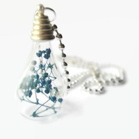 Mykonos blue dried baby breath flower glass silver bottle necklace