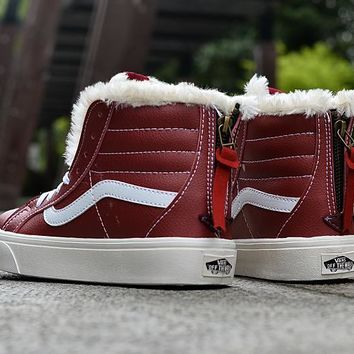 LMFON Vans Claret High Top Leather With Fur Warm Casual Zipper Sneakers Sport Shoes
