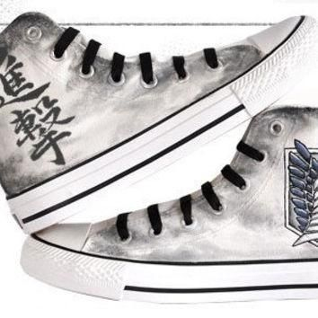 attack on titan converse hand painted converse anime shoes anime converse attack on ti