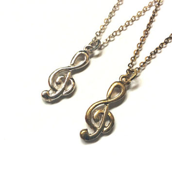 Treble G Clef necklace, musical symbol charm, music themed jewelry