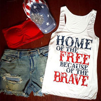 Women's Home of the Free Because of the Brave 4th of July Graphic Tank Top T-Shirt