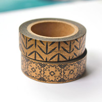 2 Roll Gold and Black Washi Tape Set - Patterned Washi Tape - Assorted Masking Tape Set - Gold on Black