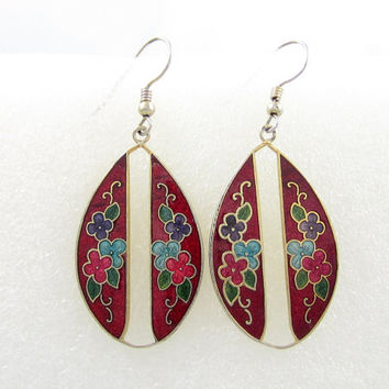 Vintage flower Cloisonne Earrings Red Green Blue Gold Tone Flower Metal Vintage Jewelry enamel design Chinese Asian Dangle earrings estate