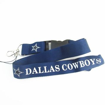 Football Team Dallas Cowboys Keychain Lanyard Neck Strap Key Ring For ID Pass Card Badge Gym Key Mobile Phone USB Holder Lanyard