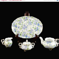 MY BIRTHDAY SALE Vintage, 3 Piece set, Blue Pansy Chintz Pattern, Miniature, China Set
