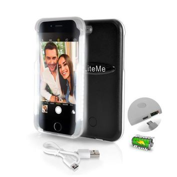 SereneLife 2 in 1 iPhone Selfie Case LED Illuminated Light And Battery Pack Case For iPhone 6 6s And Power Bank - Black