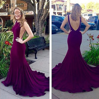 Sleeveless Burgundy Mermaid Prom Dress with Low V Back Illusion Cut Out Side Party Dress Custom Made