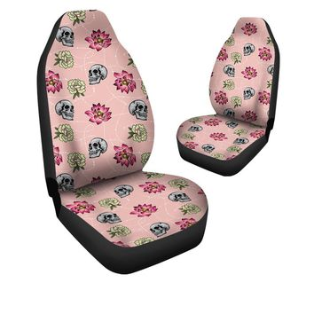 Skull Car Seat Covers - Skull And Flowers Car Seat Covers