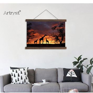 Creative Sunset Scroll Canvas Wall Hanging Painting