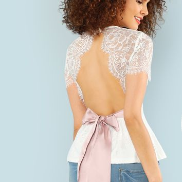 Open Back Eyelash Lace Overlay Top | MakeMeChic.COM