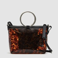 Kara / Ring Crossbody Bag in Tortoise