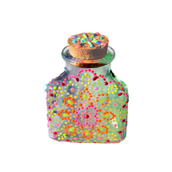 Glow in the Dark, Pink, Orange, Yellow, Green, Blue, Purple, Henna Inspired, Hand-Painted Glass Stash Jar
