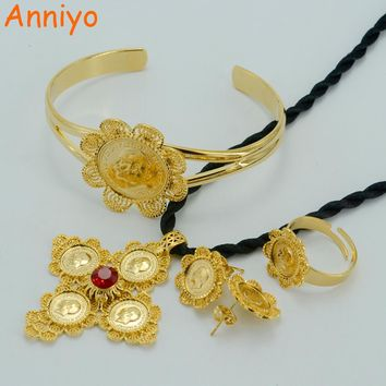 Anniyo Ethiopian Cross Coin Jewelry Sets Gold Color Eritrea Great Gift Wedding Jewelry Africa Coins/Arabia Item #007602