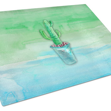 Cactus Teal and Green Watercolor Glass Cutting Board Large BB7362LCB