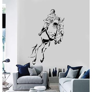 Wall Decal Jockey Horse Equestrian Sports Vinyl Stickers Art Mural Unique Gift (ig2888)