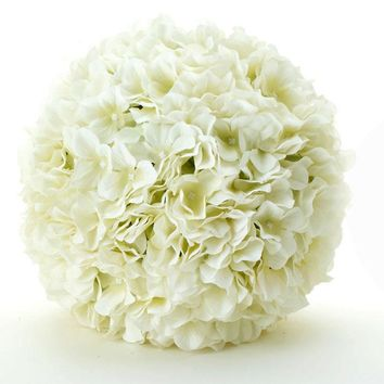 "Ivory Silk Hydrangea Pomander Kissing Ball - 8"" Wide"