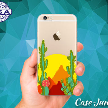 Desert Sun Cactus Yellow Red Orange Tumblr Inspired iPhone 5 iPhone 5C iPhone 6 iPhone 6s iPhone 6s Plus and iPhone SE iPhone 7 Clear Case