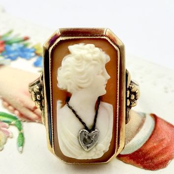 Antique 10k GOLD HABILLE CAMEO Ring 10k Gold Carved Shell Habille Cameo Wearing Diamond Heart Pendant Sz 6.75