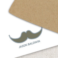 Mustache Stationery Set - Mustache Personalized Note Cards, Thank you Notecards - Fathers Day Gift, Men, For Him - Set of 10