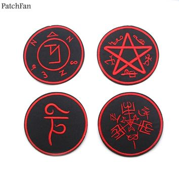 Patchfan Supernatural SPN rune applique patches stickers sewing bag jersey clothing para jacket badges iron on t-shirt A0823