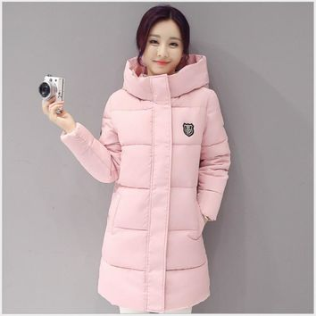 2017 Winter Coat Women Long Hooded Cotton Coat Thick Warm Female Padded Parka Puffer