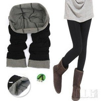 Winter New Arrival Ladies Skinny Tights Bamboo Charcoal Fiber leggings warm thicken leggings (Size: M) = 1920540612