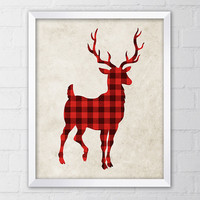 Deer Art Print, 8x10 Printable Digital file, Wall art, Home decor, Lumberjack, Red Buffalo Plaid, Watercolor, Instant Download