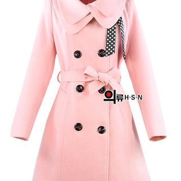Womens Wool blends Winter Coats Hot Luxury Slim Double Breasted Outwear down Red coats
