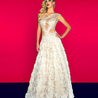 Mac Duggal Prom 2013 - Ivory/Nude Organza Lace Gown - Unique Vintage - Cocktail, Pinup, Holiday & Prom Dresses.