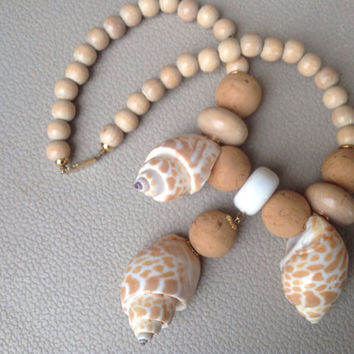 Natural Wood Bead and Seashell Statement Necklace