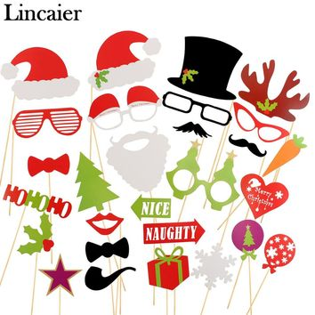 Lincaier Photo Booth Props  Merry Christmas Decorations For Home Ornaments Santa Claus Tree Gifts Xmas Toys Snowman New Year