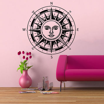 Rose Compass Wall Decals Ethnic Sun Stickers Home Vinyl Decal Sticker Interior Design Art Mural Kids Nursery Baby Room Dorm Decor kk814