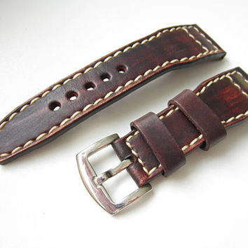 Dark Brown Watch Strap, Natural Leather, 24mm