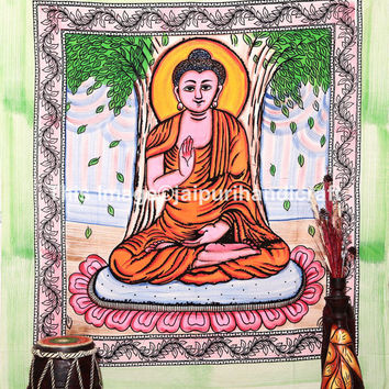 Buddha Batik Large Indian Tapestry, Wall Hanging, Ethnic Buddhism Decor, Meditating Buddha, Indian God Tapestry, Bohemian Wall Art, Beach