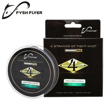 FyshFlyer 300M Braided Lines 4 Stands Superpower 8-60LB Japan Multifilament Fishing Line for Carp Fishing Wire for All Fishing