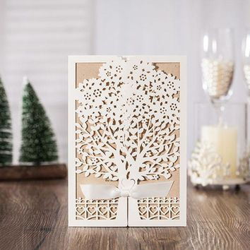 1pcs Sample White Tree Laser Cut Marriage Wedding Invitations Cards
