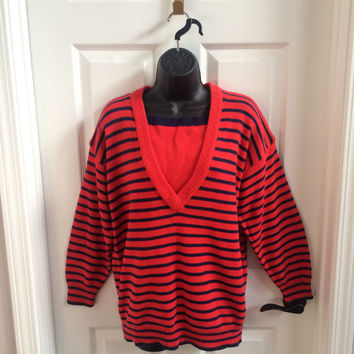 Vintage 80's Sweater / 80s Sweater / Nautical / Sailor / Striped / Red Sweater / Medium