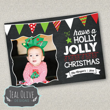 Christmas Card \ Chalkboard \ Banners Flags \ Merry Christmas \ Holiday Card \ 5x7