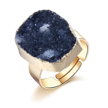 Natural Druzy Stone Ring In Black