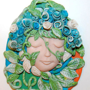 Mother Earth Wall Decor,Tribal Goddess Healer Woman Polymer Clay approx 4 inches