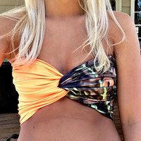 Camouflage & Blaze Orange Twist Bandeau Camo