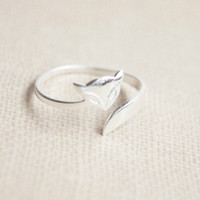 925 Sterling Silver fox ring,adjustable silver fox ring
