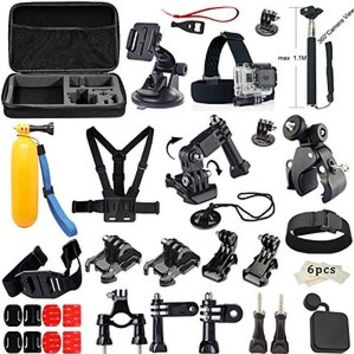 MCOCEAN Accessories Kit for GoPro Hero 4 Hero 3+ Hero 3 Camera: Helmet Front Mount & Side Mount Set+Helmet Extension Arm+3-Way Pivot Arm+Chest Harness+Roll Bar Mount+Helmet Strap+Frame etc.