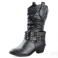 West Blvd Womens PARIS COWBOY Boots Cowgirl Western Roper Studded Slouch Shoes, Black Pu, US 9