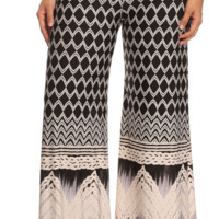 Plus New Design Chevron High Waisted Palazzo Pants