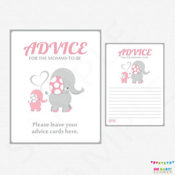 Pink and Gray Elephant Baby Shower, Advice for Mommy To Be, Girl Baby Shower, Mom Advice Cards, Baby Shower Invitation Inserts EL0005-lp
