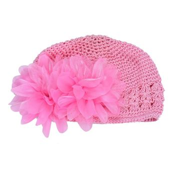 Free Shipping High Quality Pink Flower Baby Girl Knitting Woolen Hat Infant Baby Girl Lace Hair Band Headband Headwear Hat
