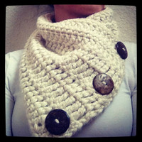 Crochet Cowl with Coconut Buttons by Love2Hook on Etsy