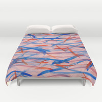 Blue- Orange Lines Duvet Cover by Sandra Arduini